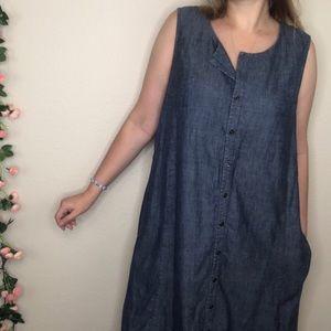 J. Jill Chambray Button Down Midi Dress W/ Pockets
